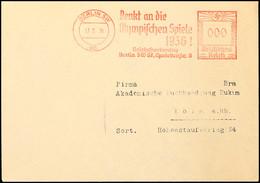 """10568 1936, Berlin, Brief Mit Probeabschlag Des Roten Freistempels """"BERLIN SW 68 / 17-2-36 / Denkt An Die Olympischen Sp - Postcards"""