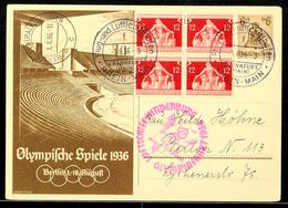 10569 1936, Sommer-Olympiade, Zeppelinpost, Olympiafahrt, Auflieferung Rhein-Main-Flughafen, 6 Pfg Olympia-Ganzsache Mit - Postcards