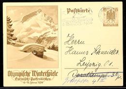"""10571 1936, Winter-Olympiade, Sonder-Postkarte 6 Pfg Mit Maschinen-Werbestempel """"GARMISCH-PARTENKIRCHEN 6.2.36 Olympisch - Postcards"""