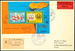 10572 1976 Sommer-Olympiade MONTREAL U. Winter-Olympiade INNSBRUCK, Uruguay Block 25 Auf Eilboten-R-FDC Nach Lorch (Anku - Postcards