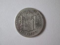 Spain 1 Peseta 1891 Silver Coin - Primeras Acuñaciones