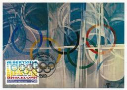 FRANCE => CARTE MAXIMUM => Jeux Olympiques Albertville / Barcelone - Anneaux Olympiques - Paris 1992 - 1990-99