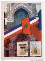 ART / FONTAINES - FRANCE MAROC / Patrimoine Culturel - Fontaine Wallace Et Nejjarine - Carte Philatélique 2 Timbres - Skulpturen