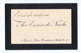 ENRICO DE NICOLA ( NAPOLI ) PRESIDENTE ITALIA - BIGLIETTO DA VISITA AUTOGRAFO - Autographes