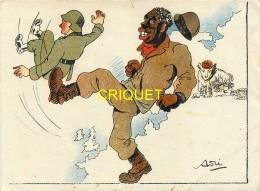 Guerre 39-45, Soldat Noir Américain Qui Botte Les Fesses D'un Allemand, Ours Russe..., Voir Cachet Au Verso - War 1939-45