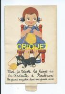 Publicité Pour Les Laines De La Redoute, Carte à Système, Fillette Qui Tricote Et Chat Qui Joue Avec La Pelote - Pubblicitari