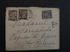 TIMBRE TAXE N°19 ET 14 + SAGE N°90 SUR LETTRE VOIR SCAN - 1859-1955 Lettres & Documents