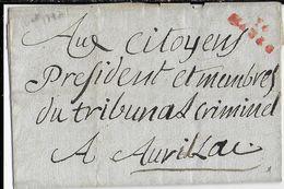 AN 3 (1795) - CANTAL - LETTRE De AURILLAC Avec MARQUE LINEAIRE ROUGE De MAURS (IND 14) => AURILLAC - 1701-1800: Précurseurs XVIII