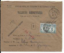 1932 - MAROC / SARTHE - LETTRE RECOMMANDEE Des VALEURS RECOUVREES De PETITJEAN => LE MANS - Postage Due Covers