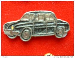 PIN'S   RENAULT DAUPHINE NOIRE FOND ARGENT - Renault