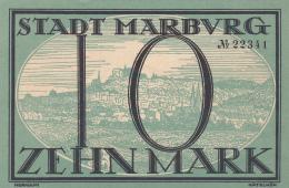 Billet De 10 Mark - Stadt MARBURG - Octobre 1918 - [ 3] 1918-1933 : République De Weimar