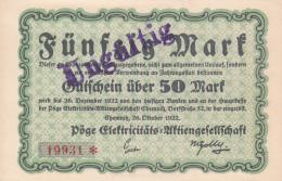 Billet De 50 Mark - Stadt CHEMNITZ - Mention Ungültig - [ 3] 1918-1933 : République De Weimar