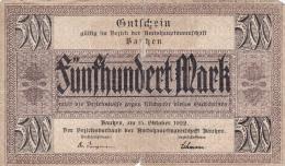Billet De 500 Mark - Stadt BAUTZEN - 1920 - [ 3] 1918-1933 : République De Weimar