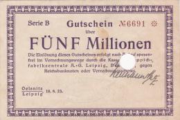 Billet De Fünf Millionen Mark  - Stadt LEIPZIG - 1923 - Billet Annulé - [ 3] 1918-1933 : République De Weimar