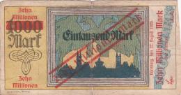 Billet De Zehn Millionnen Mark En Surcharge Sur 1000 Mark - NÜRNBERG 1923 - [ 3] 1918-1933 : République De Weimar