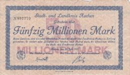 Billet De Fünfzig Millionnen Mark - Stadt AACHEN - 1923 - [ 3] 1918-1933 : République De Weimar