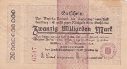 Billet De Zwanzig Milliarden Mark - Stadt STOLBERG - 1923 - [ 3] 1918-1933 : Repubblica  Di Weimar