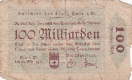 Billet De 100 Milliarden Mark - Stadt BUER - 1923 - [ 3] 1918-1933 : République De Weimar