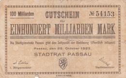 Billet De 100 Milliarden Mark - Stadt PASSAU - 1923 - [ 3] 1918-1933 : République De Weimar