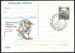 N29   Siracusa Santuario Madonna Delle Lacrime Visita Papa Giovanni Paolo II 1994 Annullo Su Cartolina Postale IPZS - Papi