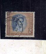 RHODESIA (RODESIA) & NYASALAND 1954 1956 QUEEN ELIZABETH II 2sh REGINA ELISABETTA USATO USED OBLITERE' - Rhodesia & Nyasaland (1954-1963)