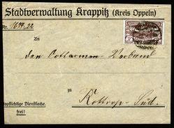 A5030) Oberschlesien Briefvorderseite Krappitz 1.4.22 Stadtverwaltung - Allemagne