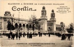 CPA Expo Coloniale 1922 CONTIN Machine A Ecrire De Fabrication Francaise. Stand Du Grand Palais MARSEILLE Publicite (a48 - Marseille