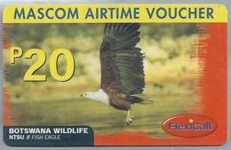 BW.- INTERNATIONAL PHONECARD. MASCOM AIRTIME VOUCHER. BOTSWANA WILDLIFE. NTSU. FISH EAGLE. FLEXICALL P20.- 2 Scans. - Botswana