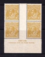Australia 1933 King George V 4d Olive C Of A Wmk Ash Imprint Block Of 4 MH/MNH - 1913-36 George V: Heads