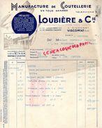 63- VISCOMTAT A RICORNET- RARE FACTURE LOUBIERE & CIE-MANUFACTURE COUTELLERIE LOUBINOX-M. MARGUERIE COUTELIER DOUAI-1938 - Old Professions