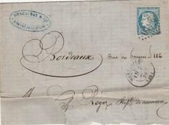 Yvert 60A Cérès Lettre MONTREJEAU GC 2510 Haute Garonne 7/11/1872 - Postmark Collection (Covers)