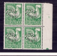 France Neuf **  - Préoblitéré N) 123 En Bloc De 4 Côte Mini 120€ Sans Trace Parfait - 1953-1960