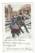 18610 - Couple Dans La Neige Accordéon (attention Pli) - Paare