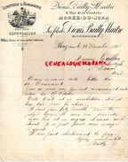 39-MOREZ DU JURA-1898 RARE LETTRE MANUSCRITE SIGNEE LES FILS DIONIS BAILLY MAITRE-LUNETTERIE HORLOGERIE-5 RUE CITADELLE - France