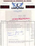 69- VILLEFRANCHE SUR SAONE- RARE FACTURE CLAUDE BORDAT-MANUFACTURE VETEMENTS TRAVAIL- 2 RUE DES JARDINIERS- LE KATA-1952 - Textile & Clothing