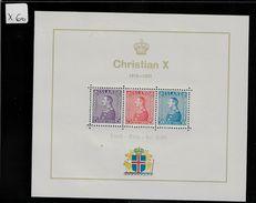 1937 Block No. 1 King Christian X MNH ** 25 Jahre Regentschaft - Blocs-feuillets
