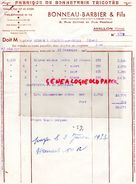 89 -AVALLON- FACTURE BONNEAU BARBIER - 9 RUE CARNOT ET RUE PASTEUR- FABRIQUE BONNETERIE 1952 - Textile & Clothing