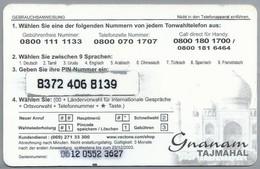 DE.- INTERNATIONAL PHONECARD. Serie 0612. GNANAM. TAJMAHAL. VECTONE TELECOM CENTERS. € 5. - GSM, Voorafbetaald & Herlaadbare Kaarten
