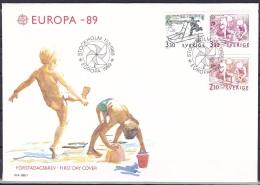 Sweden (1989):- Europa CEPT/Children's Games (Set):- FDC - FDC