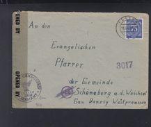 Alliierte Besetzung Brief 1946 Füssen Nach Schönberg Gau Danzig Westpreussen Polen Poland Zensur Unbeanstandet - Bizone