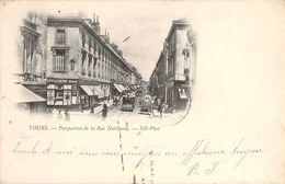 CPA Tours Perspective De La Rue Nationale (animée)(précurseur)(tramway,attelage) P1161 - Tours
