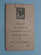 Spijskaart BANKET 20 Jarig Bestaan VRIJE POSTZEGELBEURS 1916 - 1936 Hotel Du NORD Et Des SPORTS ( Zie Foto's ) ! - Menus