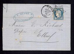 France Cover - Letre 1875 Paris To Elbeue - Ceres Sc58 - 1871-1875 Ceres