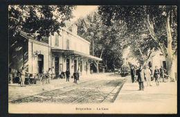 BRIGNOLES  - Var - La Gare Avec Train- Animée -  Voyagée 1924  Recto Verso- Paypal Sans Frais - Brignoles