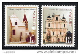 LITHUANIA 2005 Churches Set Of 2 MNH / **.  Michel 881-82 - Lithuania