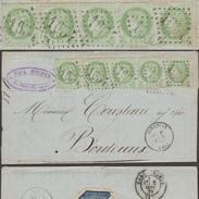 France 1872 Y&T 53. Bande De 5, 5 C Cérès. Lettre De Ginestas, Aude (1654) à Bordeaux. 4ème Timbre, Cadre Fin - 1871-1875 Ceres