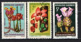 GABON - 1969 - FLOWERS  - FIORI - CHLAMYDOCOL CHLAMYDANTHA - COSTUS DINKLAGEI - USATI - Gabon (1960-...)