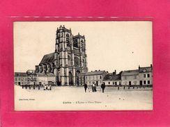 80 Somme, Corbie, L'Eglise Et Place Thiers, Animée, (Léon Caron) - Corbie
