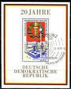 DDR - Michel Block 28 = 1507 - OO Gestempelt (B) - 1M   20 Jahre DDR I - Gebraucht