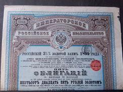 Lot   3    Emprunt RUSSE   1894 , 2500 FR Ou 625 Roubles + Coupons  ( Dispo  35 Ex ) - Azioni & Titoli